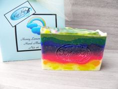 Vegan Rainbow Soap - Beautiful olive oil soap scented with our custom blend of Lemon Honey.  Mmmm, sweet honey with a bright lemon finish.  Completely unique!  Handmade by Kiyi Kiyi.