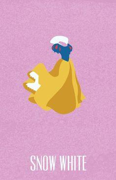 disney princess Snow White in Snow White and the Seven Dwarfs - Minimal Disney Princesses Posters by Ryne Abraham Disney Pixar, Disney Nerd, Disney Films, Disney Fan Art, Disney And Dreamworks, Disney Animation, Disney Characters, Disney Princesses, Walt Disney