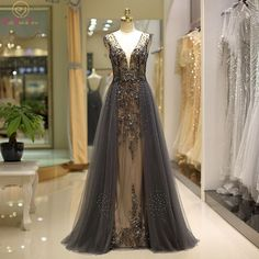 Luxury Hard Beading Evening Dresses Dark Gray Gold Diamond Crystal Tulle Deep V-neck Sexy Formal Engagement Prom Party Gowns Review