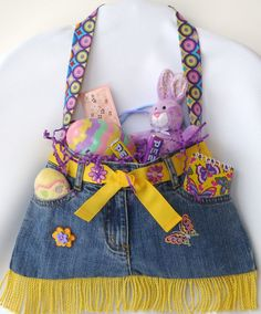Little Girls Blue Jean Purse with Orange Yellow & by PrissyPockets, $25.00
