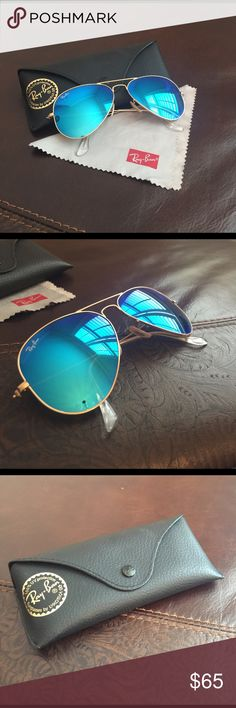 Authentic Ray-Ban Blue Flash Aviator Sunglasses Authentic Ray Ban non-polarized Aviator flash lens sunglasses, one of the most iconic models in the world. These unique teardrop shape & flash lens combination are a must have for your summer look! Ray-Ban Accessories Sunglasses
