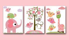 toooo cute! Baby Room Decor /Nursery print (owls, turtle, tree, birds, rose, elephant)
