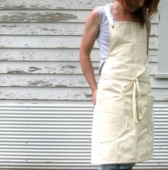 Rustic Utility Full Unbleached USA Cotton Canvas Kitchen Studio Workshop Apron for Him or Her on Etsy, $41.00
