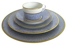 "1980's | Puiforcat Limoges China Set, Svc. for 6 on OneKingsLane.com | designed by Manuel Canovas. Each five-piece place setting is painstakingly painted by hand. Fabulous pebbled blue shagreen design. Hand-gilded borders and rims. The quality of this porcelain is unsurpassed. Marked ""Puiforcat Limoges France."" 