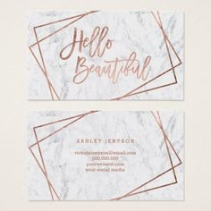 #makeupartist #businesscards - #Hello beautiful rose gold script geometric marble business card