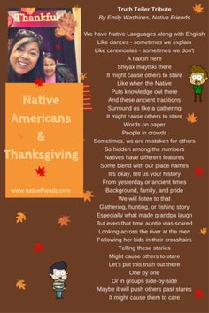 Native Americans and Thanksgiving: Truth Teller Tribute, by Emily Washines, Native Friends