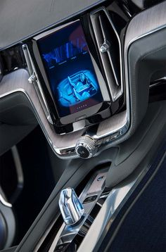 Volvo concept coupe dashboard system closeup.