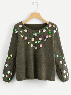 Green Fashion, Look Fashion, Winter Fashion, Womens Fashion, Bridal Hair Buns, Sequin Sweater, Clothes Crafts, Casual Outfits, Fall Outfits