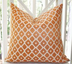 Decorative Orange Pillow-  16 x 16 Orange and Ivory Geometric Tile Designer Pillow Cover - Modern Throw Pillow