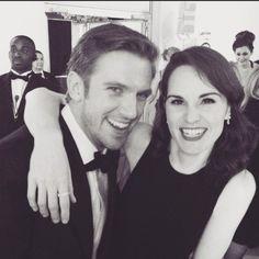 "Michelle Dockery on Instagram: ""Reunited. @thatdanstevens I've missed this face #bafta #LastDaysOfDownton #matthewandmary"""