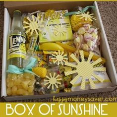 A box of sunshine to send to a dear friend, whether it be for days when sickness has hit or days that are gloomy (like winter).