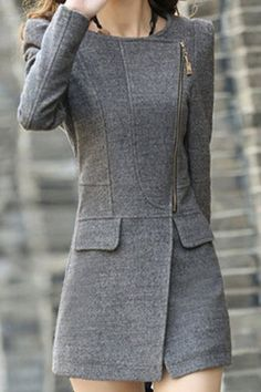 Trendy Style Turn-Down Collar Solid Color Long Sleeve Worsted Women's Coat