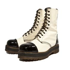 Vintage Dr Marten Boots Black and White Patent Leather Tuxedo Styled... ($285) ❤ liked on Polyvore featuring mens, men's shoes, men's boots, shoes and boots