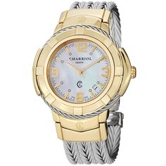 Charriol Women's CE438Y1.650.002 'Celtic' Mother of Pearl Two Tone Steel Watch - Overstock™ Shopping - The Best Prices on Charriol Phillipe Charriol Women's Watches