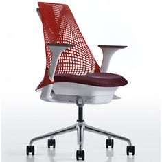 The Side view of our Red SAYL with a different fabric color.    http://usadesignerfurniture.com/sayl-chair-herman-miller