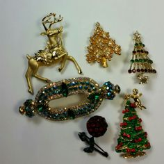 Get your glitz on with a vintage brooch for the holidays.