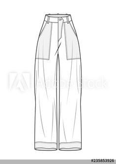 Pants fashion flat technical drawing template - Buy this stock vector and explore similar vectors at Adobe Stock