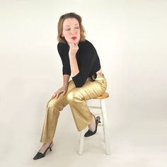 60s Vintage Gold Stretch Metallic Western Pants by by denisebrain, $85.00