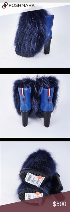 Selling Brand New Moncler Racoon Fur, Leather Selling Brand New Moncler Racoon Fur, Leather, Platform, High Heels Boots Original price was 1845$ Very Comfortable to wear, stylish Moncler Shoes Heeled Boots