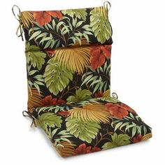 Freeport Park Indoor/Outdoor High Back Adirondack Chair Cushion Size: H x W x D, Fabric: Tropique Raven Rocking Chair Cushions, Adirondack Chair Cushions, Custom Outdoor Cushions, Outdoor Lounge Chair Cushions, Patio Chairs, Outdoor Chairs, Indoor Outdoor, Outdoor Fabric, Outdoor Furniture