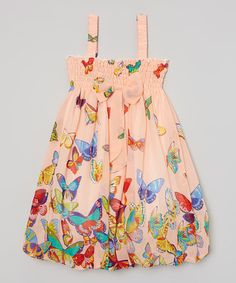 Loving this Peach Butterfly Babydoll Dress - Infant, Toddler & Girls on #zulily! #zulilyfinds