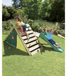 Great climbing wall ideas for the preschool/early elementary set.  Birthday present for the nephews?