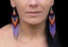 Native American Beaded Earrings - Purple yellow Orange Red Black.  Long Dange Fringe Earrings