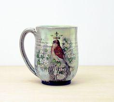 Handmade Pottery Mug, Retro Bird Mug, vintage flowers, coffee cup, contemporary folk art pottery, Gift for Mom, put a bird on it
