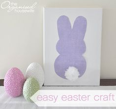 Easter Craft Idea - Easter bunny Silhouette, with Pom Pom Tail | The Organised Housewife