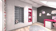 Wystrój wnętrz - Pokój dziecka dla dziewczynki - pomysły na aranżacje. Projekty… Attic, Decoration, Design, Bedrooms, Kids Rooms, Loft Room, Decor, Attic Rooms, Dekoration