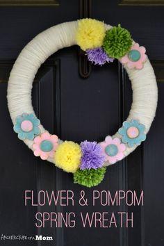 DIY Pom-pom and Flower Spring Wreath