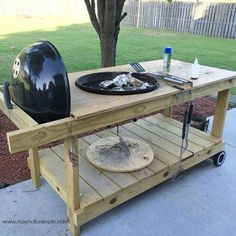He Loved it His brother built it He disassembled a Weber grill and built a more usable table for it This was after we grilled so not a staged pic Enjoy the inspiration Resin Patio Furniture, Furniture Legs, Garden Furniture, Furniture Design, Outdoor Furniture, Outdoor Grill Station, Grill Cart, Bbq Table, Best Charcoal Grill