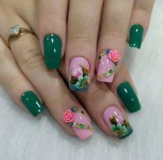 2019 Elegant and Trendy Nail Art Designs - Naija's Daily Colorful Nail Art, Trendy Nail Art, Best Nail Art Designs, Beautiful Nail Designs, Green Nails, Pink Nails, Elegant Nail Art, Nail Polish Art, Flower Nails