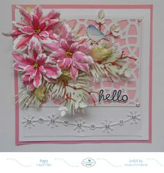 This is Selma Stevenson today with a card designed using two Susan's Garden Notes Poinsesttia die sets. I will show you how I painted the petals for this pretty Pink Marble Po… Christmas Card Crafts, Christmas Cards, Flower Cards, Paper Flowers, Hello Craft, Poinsettia Cards, Pink Images, Elizabeth Craft Designs, Pink Marble