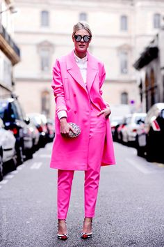 Bright pink coat and pants | Via http://www.waynetippetts.com