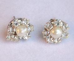 Bridal Pearl EarringsRhinestone by mylittlebride on Etsy, $30.00