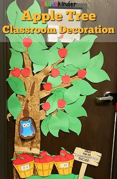 Decorate the classroom door or wall with a fun diy apple tree. Great for a farm unit study ot back to school decoration! Diy Classroom Decorations, Apple Decorations, School Decorations, Classroom Ideas, Classroom Organization, Preschool Door, Kindergarten Classroom, Preschool Themes, Toddler Classroom