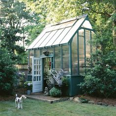 Gardening is good for the soul. And the pocketbook! A small greenhouse like this is attractive and allows you to produce more flowers and vegetables all year long. This model charmed me.