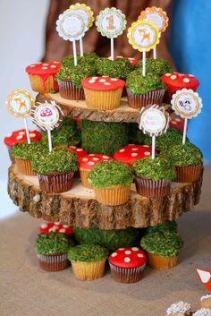 Mushroom and grass cupcakes! Adorable!