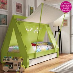 This awesome Children's Tent Cabin Bed is the perfect centerpiece in any kids bedroom and will c Enclosed Bed, Childrens Tent, Childrens Bedroom, Cool Beds For Kids, Unique Kids Beds, Toddler Beds For Boys, Playhouse Bed, Creative Beds, Cabin Tent