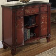 @Overstock - This hand painted distressed burnt red finish accent chest features three functional drawers, two doors and open center shelf storage. The chest offers elegant antique brass finished hardware.http://www.overstock.com/Home-Garden/Hand-painted-Distressed-Burnt-Red-Accent-Chest/6761855/product.html?CID=214117 $497.99
