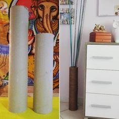 Roll Vase Vaso realizzato con rotolo riciclato e spago grezzo. Ecologico ed economico