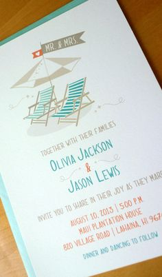 Whimsical Beach Chair Wedding Invitations, Beach Destination Wedding Invitation. $26,40, via Etsy.