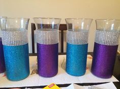 Diy Turquoise And Purple Wedding Centerpieces