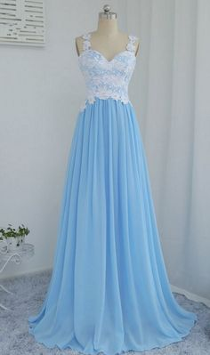 Blue Chiffon and Lace ,Long Party Dresses, Pretty #prom #promdress #dress #eveningdress #evening #fashion #love #shopping #art #dress #women #mermaid #SEXY #SexyGirl #PromDresses
