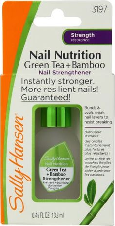 Sally Hansen Green Tea & Bamboo Nail Strengthener —This is a great product. It does what it says it will do.   Amazon.com $5.99 + Free Ship