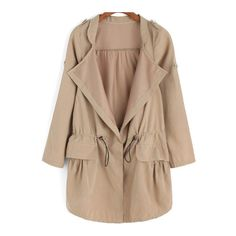 SheIn(sheinside) Khaki Epaulet Drawstring Waist Trench Coat ($16) ❤ liked on Polyvore featuring outerwear, coats, jackets, khaki, long trench coats, trench coats, long coat, collar coat and beige trench coat