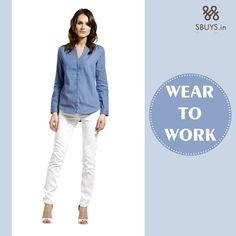 #Outfit that makes you different from others, #Shop now wear to work collection >>> http://www.sbuys.in/women-clothes/tops-online/shirts.html  #Blue #Shirt #White #Trouser
