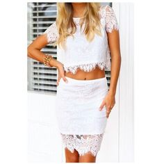 """Selling this """"White Lace Crop Top"""" in my Poshmark closet! My username is: dollface86. #shopmycloset #poshmark #fashion #shopping #style #forsale #Tops"""