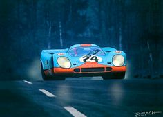 Gulf Porsche 917 driven to victory by drivers Jo Siffert and Brian Redman at the 1970 24 hrs of Spa Francorchamps. Vintage motorsports art by artist Beacham Owen.